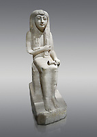 "Ancient Egyptian statue of Hel, limestone, New Kingdom, late 18th Dynasty, (1320-1280 BC), Saqqara. Egyptian Museum, Turin. Grey background.<br /> <br /> The women is seated on a cushioned stool. On her head is a lotus flower. In her left hand she holds a cloth in her right a counterweight for a meant necklace, a ritual instrument used in the cult of the goddess Hathor. the statue probably stood in a tomb in Saqqara necropolis of Memphis, where the Egyptian eletes of the time had splendid tombs with statues of s similar style. The inscription evokes the deceased ""everything that comes forth in the presence of the gods of Memphis for Osiris, the lady of Hel..."""