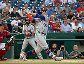 New York Mets left fielder Michael Conforto (30) pops out to short in the first inning against the Washington Nationals at Nationals Park in Washington, D.C. on Tuesday, July 31, 2018.<br /> Credit: Ron Sachs / CNP<br /> (RESTRICTION: NO New York or New Jersey Newspapers or newspapers within a 75 mile radius of New York City)