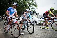 Samuel Dumoulin (FRA/AG2R-La Mondiale) &amp; William Bonnet (FRA/FDJ) chatting before the start<br /> <br /> Brussels Cycling Classic 2016