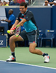 September  2, 2018:  Milos Raonic (CAN)  loses to John Isner at the US Open being played at Billy Jean King Ntional Tennis Center in Flushing, Queens, New York.