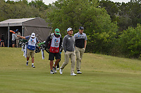 Andrew Yun (USA) and Seamus Power (IRL) head down 1 during Round 2 of the Valero Texas Open, AT&T Oaks Course, TPC San Antonio, San Antonio, Texas, USA. 4/20/2018.<br /> Picture: Golffile | Ken Murray<br /> <br /> <br /> All photo usage must carry mandatory copyright credit (© Golffile | Ken Murray)