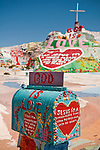Mailbox with heart and the Sinner's Prayer at Leonard Knight's Salvation Mountain, near Niland, Calif...