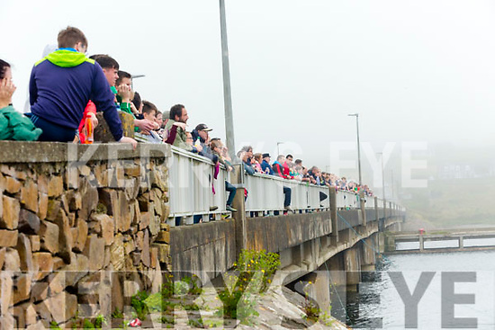 Large crowds took to the bridge to get a better view of the races at the Portmagee Regatta on Sunday.