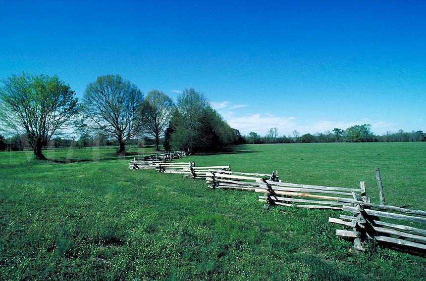 Old fence along road side of Natchez Trace. Natchez Mississippi United States Natchez Trace.