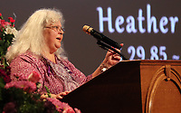 Susan Bro, mother to Heather Heyer, spoke during a memorial for her daughter Wed., August 16, 2017, at the Paramount Theater in Charlottesville, Va. Heyer was killed the previous weekend when a vehicle drove into a crowd of counter-protestors after the Unite The Right rally. Photo/Andrew Shurtlef