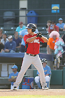 Potomac Nationals shortstop Stephen Perez (4) at bat during a game against the Myrtle Beach Pelicans at Ticketreturn.com Field at Pelicans Ballpark on May 22, 2015 in Myrtle Beach, South Carolina.  Myrtle Beach defeated Potomac 8-4. (Robert Gurganus/Four Seam Images)