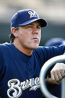 Milwaukee Brewers Manager Ned Yost during batting practice before a game from the 2007 season at Dodger Stadium in Los Angeles, California. (Larry Goren/Four Seam Images)