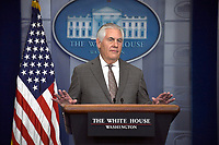 ***FILE PHOTO*** Trump Fires Tillerson As secretary Of State<br /> United States Secretary of State Rex Tillerson answers reporter's questions in the Brady Press Briefing Room of the White House in Washington, DC on Monday, November 20, 2017.  Secretary Tillerson took questions on the renewed designation of North Korea as a state sponsor of terrorism that was announced by President Donald J. Trump earlier in the day.<br /> CAP/MPI/CNP/RS<br /> &copy;RS/CNP/MPI/Capital Pictures