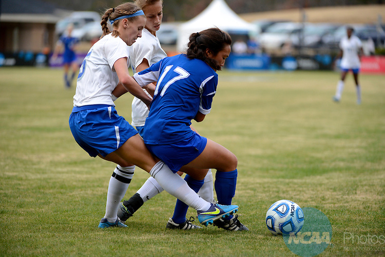 01 DEC 2012:  University of West Florida vs. UC San Diego during the 2012 NCAA Women's Division II Soccer Championship held at Blanchard Woods Park hosted by the Peach Belt Conference in Evans, GA. West Florida defeated UC San Diego 1-0 to win the national title. Brett Wilhelm/ NCAA Photos