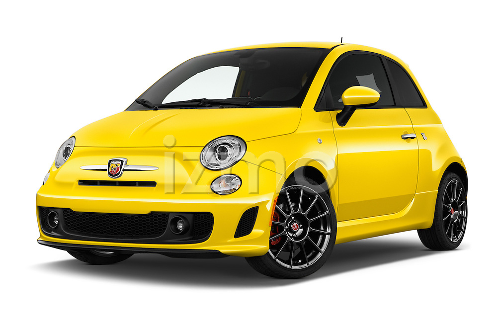 Stock pictures of low aggressive front three quarter view of 2016 Fiat 500 Abarth 3 Door Hatchback Low Aggressive