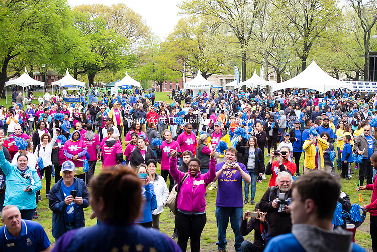 Waterbury, CT- 06 May 2017-050617CM02-  Supporters gather together for the 8th annual Western Connecticut Autism Speaks Walk at Library Park in Waterbury on Saturday.  Proceeds from the event will support Autism Speaks and for the needs of individuals with autism and their families.  Approximately 1200 supporters attended the event. Christopher Massa Republican-American