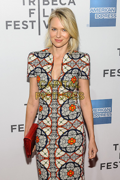 Naomi Watts.'Sunlight Jr' screening at TriBeCa Film Festival, New York, New York, USA, 20th April 2013..half length red white print patterned dress shoulder pads cap sleeve clutch bag black midi mid stained glass window .CAP/ADM/MS.©Mario Santoro/AdMedia/CapitalPictures .