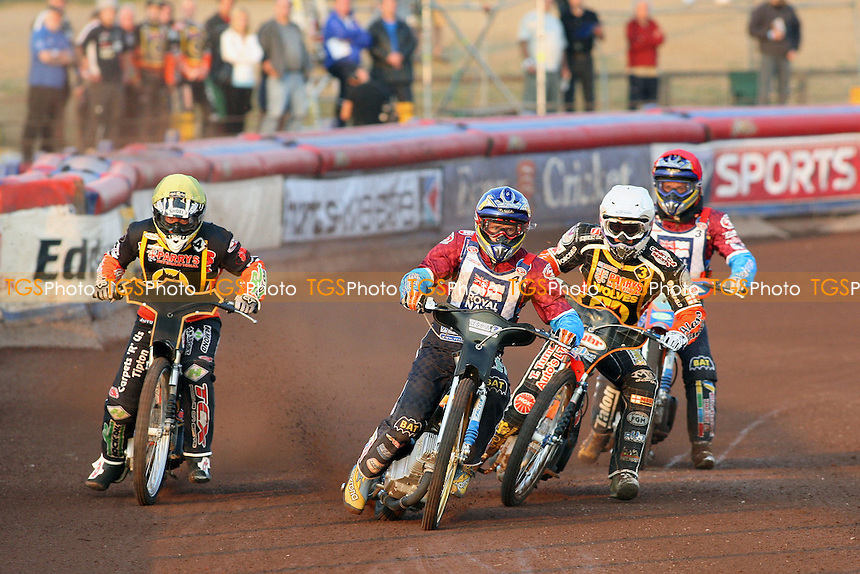 Heat 3: D Davidsson (red), J Davidsson (blue), Klindt (white) and Screen - Lakeside Hammers vs Wolverhampton Wolves - Sky Sports Elite League Speedway at Arena Essex Raceway, Purfleet - 24/05/10 - MANDATORY CREDIT: Gavin Ellis/TGSPHOTO - Self billing applies where appropriate - Tel: 0845 094 6026