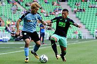 GRONINGEN - Voetbal, FC Groningen - Granada, Noordlease stadion, voorbereiding seizoen 2017-2018, 22-07-2017, FC Groningen speler Ritsu Doan met Machis