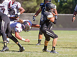 Palos Verdes, CA 09/19/14 - Andrew Phillips (Peninsula #16) and Elijah Jones (Torrance #5)in action during the Torrance-Palos Verdes Peninsula CIF Varsity football game at Peninsula High School.  Torrance defeated Peninsula 47-21