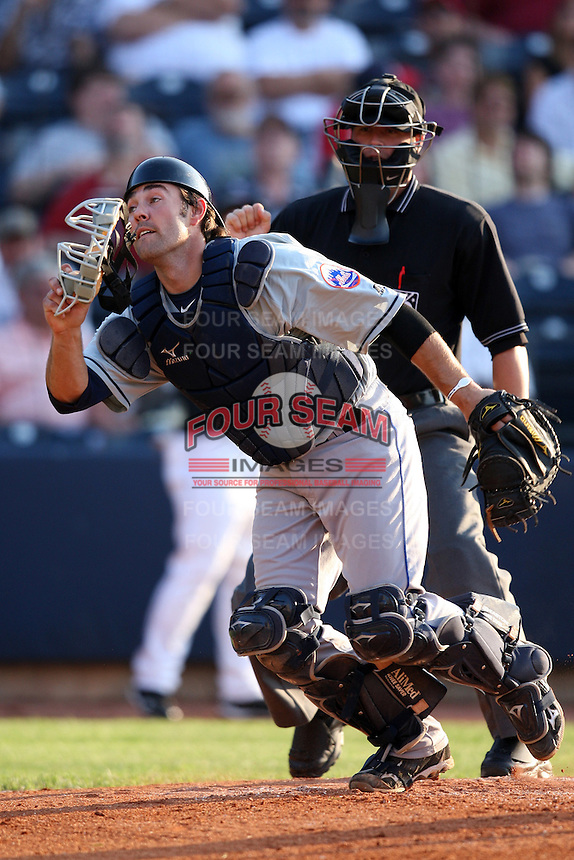 Binghamton Mets Catcher Mike Nickeas (50) during a game vs. the Akron Aeros at Eastwood Field in Akron, Ohio;  June 25, 2010.   Binghamton defeated Akron 5-3.  Photo By Mike Janes/Four Seam Images