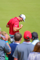 Jon Rahm (ESP) celebrates sinking his putt and defeating Bill Haas (USA) during round 6 of the World Golf Championships, Dell Technologies Match Play, Austin Country Club, Austin, Texas, USA. 3/26/2017.<br /> Picture: Golffile | Ken Murray<br /> <br /> <br /> All photo usage must carry mandatory copyright credit (&copy; Golffile | Ken Murray)