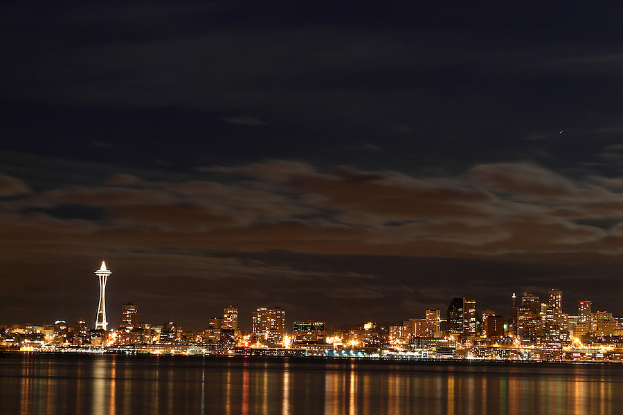 Seattle skyline and Space Needle reflecting in Elliot Bay viewed from West Seattle, Seattle, Washington, USA