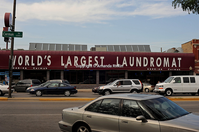The exterior of the World's Largest Laundromat on Cermak Road in Berwyn, Illinois on July 7, 2008.