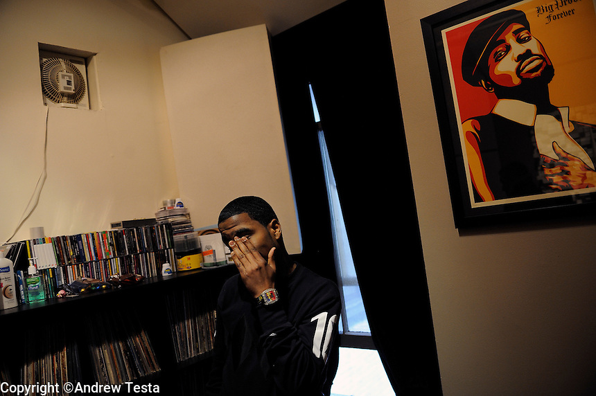 USA. Brooklyn. 20th March 2008..Kid Cudi at the recording studio in Manhattan.