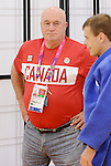 LONDON, ENGLAND – 08/26/2012:  Justin Karn and coach Tom Thomson of the Canadian Judo Team during a training session at the London 2012 Paralympic Games at Mayesbrook Park SportHouse. (Photo by Matthew Murnaghan/Canadian Paralympic Committee)