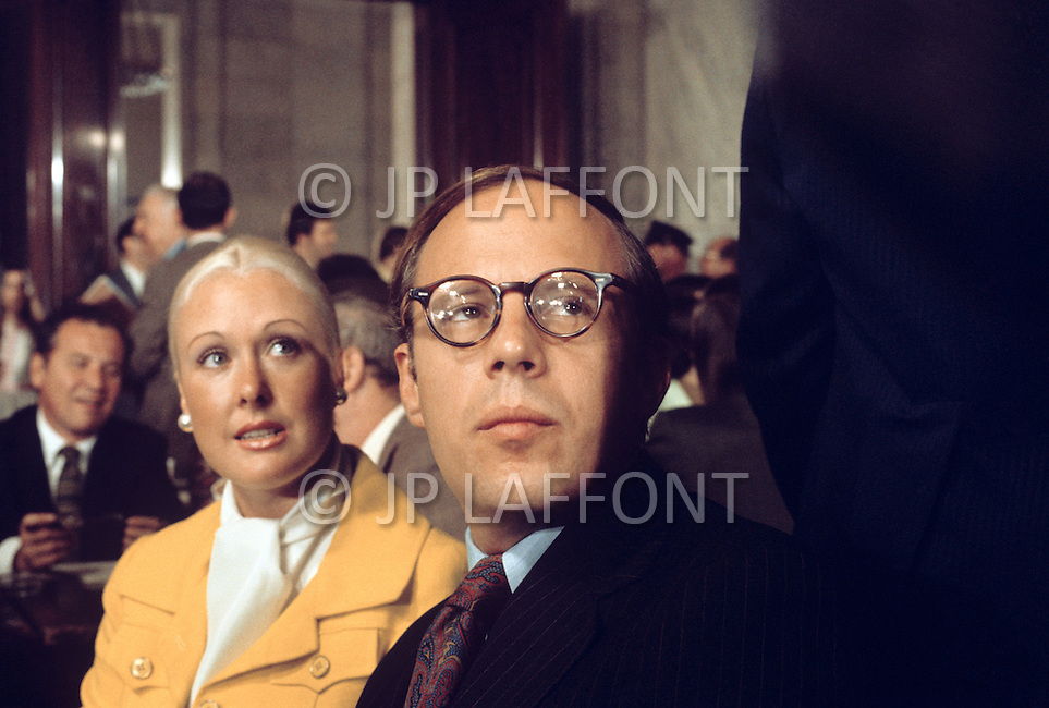 Washington, Washington DC, June 1973. White House Counsel to President Richard Nixon, John Dean (with wife Maureen) testifies before the Senate Watergate committee - A break in at the Democratic National Committee headquarters at the Watergate complex on June 17, 1972 results in one of the biggest political scandals the US government has ever seen. Effects of the scandal ultimately led to the resignation of President Richard Nixon, on August 9, 1974, the first and only resignation of any U.S. President.