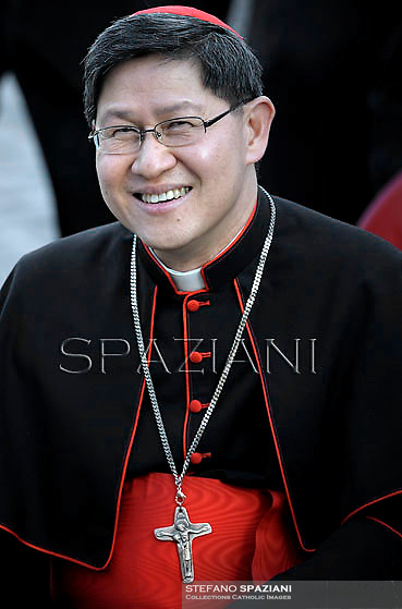Cardinal Luis Antonio Gokim Tagle. Pope Francis during the Family Day at St Peter's square at the Vatican on October 26, 2013