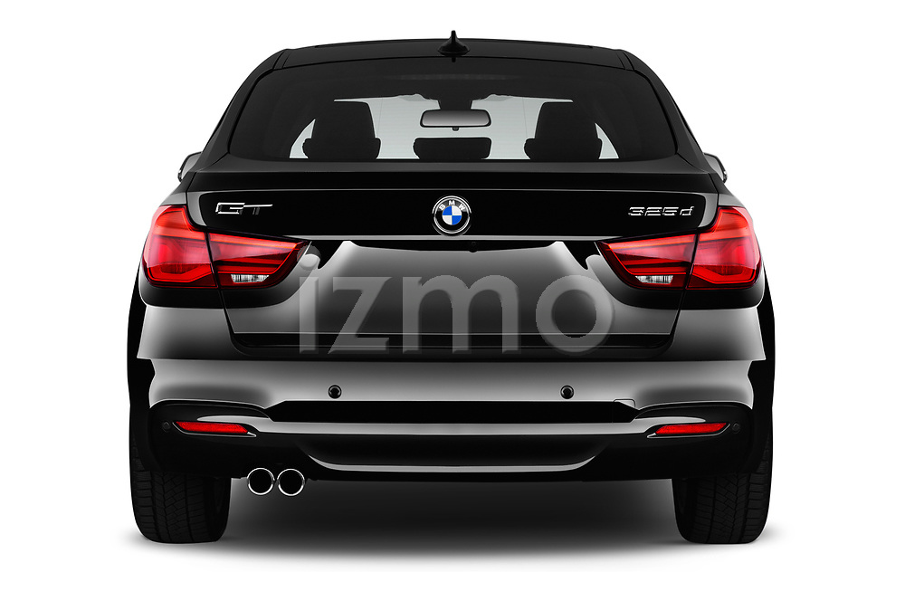 Straight rear view of 2018 BMW 3 Series 330i GT M Sport 5 Door Hatchback stock images