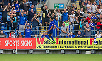 Nathaniel Mendez-Laing of Cardiff City celebrates scoring his side's third goal during the Sky Bet Championship match between Cardiff City and Aston Villa at the Cardiff City Stadium, Cardiff, Wales on 12 August 2017. Photo by Mark  Hawkins / PRiME Media Images.