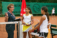 August 4, 2014, Netherlands, Dordrecht, TC Dash 35, Tennis, National Junior Championships, NJK,  Esmee Andresen/Lienka Ammar with umpire<br /> Photo: Tennisimages/Henk Koster