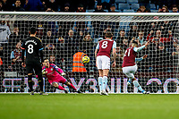 12th January 2020; Villa Park, Birmingham, Midlands, England; English Premier League Football, Aston Villa versus Manchester City; Anwar El Ghazi of Aston Villa scores from the penalty spot in the last minute of the game for a consolation goal 1-6 - Strictly Editorial Use Only. No use with unauthorized audio, video, data, fixture lists, club/league logos or 'live' services. Online in-match use limited to 120 images, no video emulation. No use in betting, games or single club/league/player publications