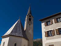 Kirche, Guarda bei Scuol, Unterengadin, Graubünden, Schweiz, Europa<br /> church in Guarda, Scuol, Engadine, Grisons, Switzerland