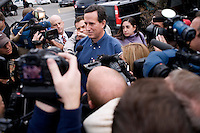 Former congressman Rick Santorum speaks to the media after speaking to the Queen City Rotary at the Puritan Backroom restaurant in Manchester, New Hampshire.  Santorum is a candidate for the GOP 2012 presidential nominee.