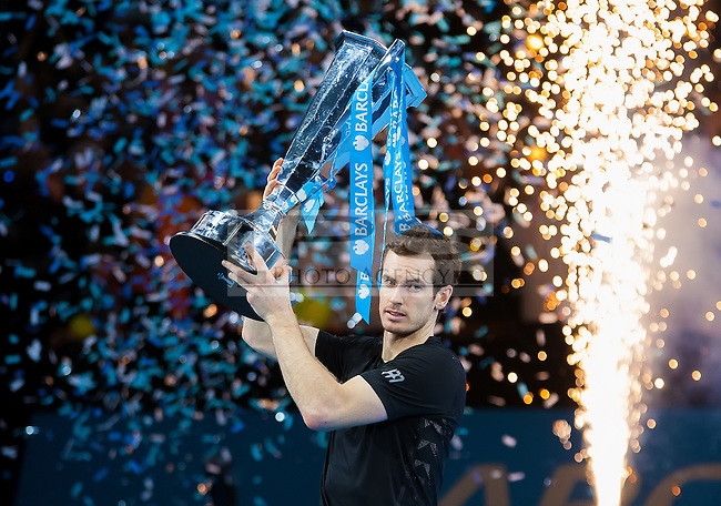 Andy Murray (GBR) with the ATP World Tour Finals Trophie after his win in the final against Novak Djokovic (SRB), ATP World Tour Finals 2016, Day Eight, O2 Arena, Peninsula Square, London, United Kingdom, 20th Nov 2016