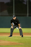 Minor League Baseball umpire Braxton Arndt handles the calls in the field during the game between the AZL Brewers and AZL Athletics on August 18, 2017 at Lew Wolff Training Complex in Mesa, Arizona. AZL Brewers defeated the AZL Athletics 6-4. (Zachary Lucy/Four Seam Images)