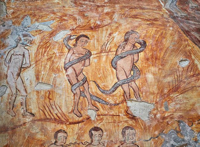 Pictures & images of Nikortsminda ( Nicortsminda ) St Nicholas Georgian Orthodox Cathedral rich interior frescoes of Adam & Eve, 16th century, Nikortsminda, Racha region of Georgia (country). A UNESCO World Heritage Tentative Site.
