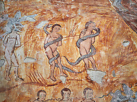 Pictures & images of Nikortsminda ( Nicortsminda ) St Nicholas Georgian Orthodox Cathedral rich interior frescoes of Adam & Eve, 16th century, Nikortsminda, Racha region of Georgia (country). A UNESCO World Heritage Tentative Site.