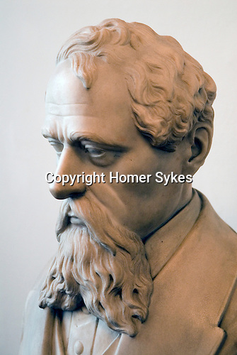 Charles Dickens portrait bust in the Charles Dickens Museum 48 Doughty Street London UK.