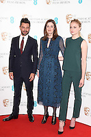 Dominic Cooper, Amanda Berry &amp; Sophie Turner at the announcement of the nominations for the 2017 EE BAFTA Film Awards, BAFTA, London, UK. <br /> 10th January  2017<br /> Picture: Steve Vas/Featureflash/SilverHub 0208 004 5359 sales@silverhubmedia.com