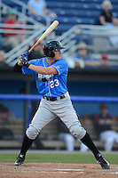 Hudson Valley Renegades outfielder Granden Goetzman (23) during a game against the Batavia Muckdogs on August 7, 2013 at Dwyer Stadium in Batavia, New York.  Batavia defeated Hudson Valley 15-6.  (Mike Janes/Four Seam Images)