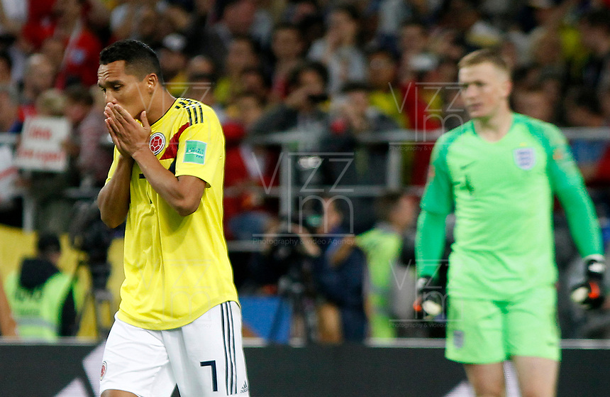 MOSCU - RUSIA, 03-07-2018: Carlos BACCA jugador de Colombia luce decepcionado después de fallar su cobro en la tanda de penales durante el partido de octavos de final entre Colombia y Inglaterra por la Copa Mundial de la FIFA Rusia 2018 jugado en el estadio del Spartak en Moscú, Rusia. / Carlos BACCA player of Colombia looks disappointed after loosing goal in the penalty shoot out during the match between Colombia and England of the round of 16 for the FIFA World Cup Russia 2018 played at Spartak stadium in Moscow, Russia. Photo: VizzorImage / Julian Medina / Cont