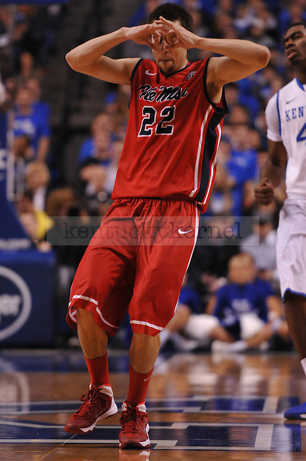 Ole Miss guard Marshall Henderson (22) ramps up to celebrate a three pointer during the first half of the UK men's basketball team vs Ole Miss at Rupp Arena in Lexington, Ky., on Tuesday, February 4, 2014. Photo by Eleanor Hasken | Staff