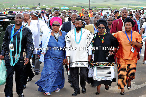 Qunu, South Africa: 14.12.2013: NELSON MANDELA BODY RETURNS TO QUNU<br /> Chief Dalindyebo (middle) arrives with a delegation of local chiefs at the Mandela Residence in Qunu to witness the arrival of Nelson Mandela's body to his home.<br /> The former President of South Africa Nelson Mandela will be buried in a private ceremony on Sunday 15th December 2013 in Qunu.<br /> Mandatory Credit Photo: &copy;Jiyane-GCIS/NEWSPIX INTERNATIONAL<br /> <br /> **ALL FEES PAYABLE TO: &quot;NEWSPIX INTERNATIONAL&quot;**<br /> <br /> IMMEDIATE CONFIRMATION OF USAGE REQUIRED:<br /> Newspix International, 31 Chinnery Hill, Bishop's Stortford, ENGLAND CM23 3PS<br /> Tel:+441279 324672  ; Fax: +441279656877<br /> Mobile:  07775681153<br /> e-mail: info@newspixinternational.co.uk