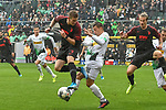 06.10.2019, Borussia-Park - Stadion, Moenchengladbach, GER, DFL, 1. BL, Borussia Moenchengladbach vs. FC Augsburg, DFL regulations prohibit any use of photographs as image sequences and/or quasi-video<br /> <br /> im Bild v. li. im Zweikampf Andre Hahn (#28, FC Augsburg) Stefan Lainer (#18, Borussia Moenchengladbach) <br /> <br /> Foto © nordphoto/Mauelshagen