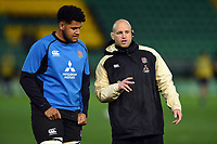 Rusiate Tuima of England U20 speaks with Coach James Scaysbrook during the pre-match warm-up. U20 Six Nations match, between England U20 and Scotland U20 on March 15, 2019 at Franklin's Gardens in Northampton, England. Photo by: Patrick Khachfe / JMP