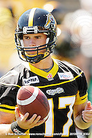 July 10, 2010; Hamilton, ON, CAN; Hamilton Tiger-Cats quarterback Adam Tafralis (17). CFL football: Calgary Stampeders vs. Hamilton Tiger-Cats at Ivor Wynne Stadium. The Tiger-Cats lost against the Stampeders 23-22. Mandatory Credit: Ron Scheffler. Copyright (c) 2010 Ron Scheffler.