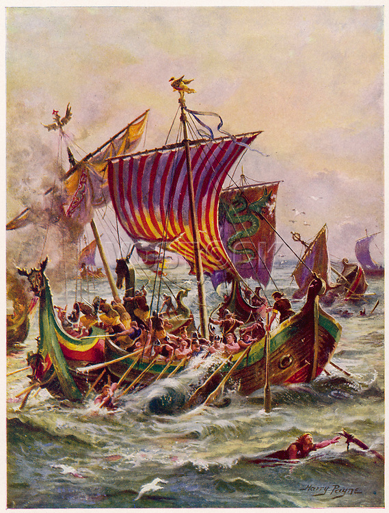 Alfred's galleys in battle with Vikings     Date: 897     Source: Harry Payne