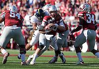 Trevor Guyton wraps up Jeff Tuel. The University of California football defeated Washington State University 20-13 at Martin Stadium in Pullman, Washington on November 6th, 2010.