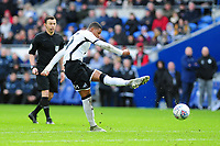 Rhian Brewster of Swansea City has a shot during the Sky Bet Championship match between Cardiff City and Swansea City at the Cardiff City Stadium in Cardiff, Wales, UK. Sunday 12 January 2020