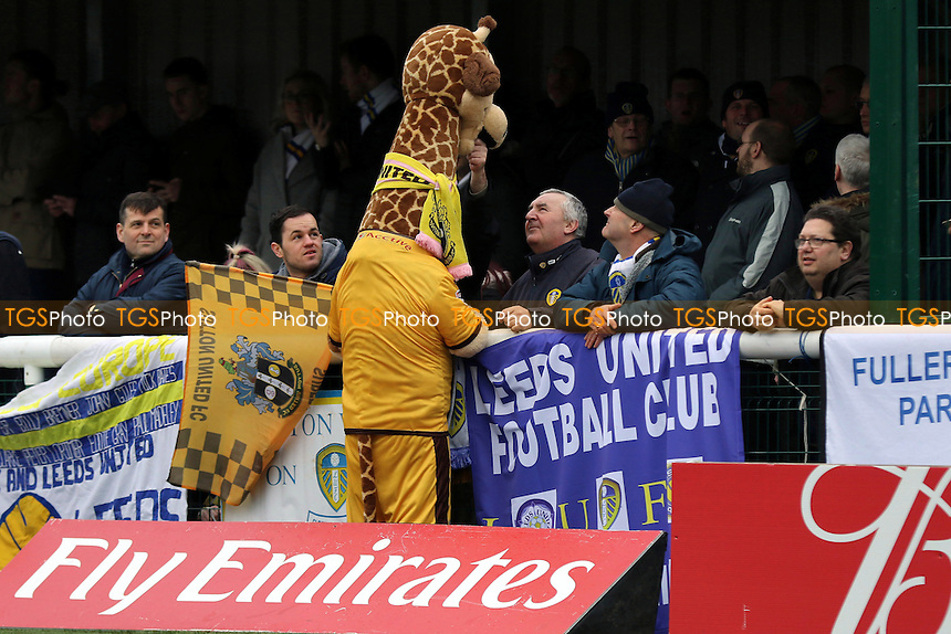 The Sutton Mascot chats with some Leeds fans pre-match during Sutton United  vs Leeds United, Emirates FA Cup Football at the Borough Sports Ground on 29th January 2017